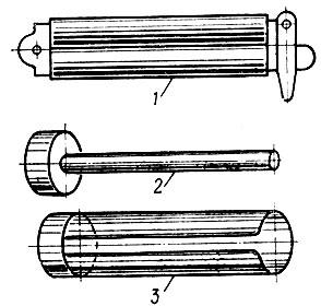 Рис. 16. Комплект инструмента для термической завивки (перманент): 1 - зажим; 2 - стержень; 3 - банник