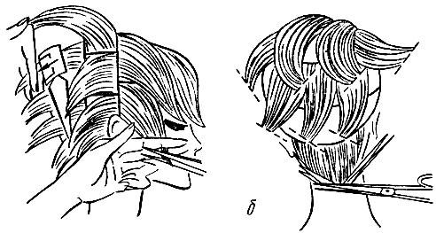 Рис. 35. Пряди волос до снятия 'на пальцах' и после: а - после филировки; б - после снятия 'на пальцах'