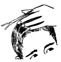 Рис. 38. Снятие волос 'на пальцах' на теменном участке