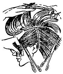 Рис. 39. Положение ножниц при снятии волос 'на пальцах' на различных участках волосяного покрова головы
