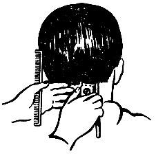 Рис. 40, Сведение волос на нет машинкой