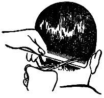 Рис. Обработка волос на правой стороне шеи