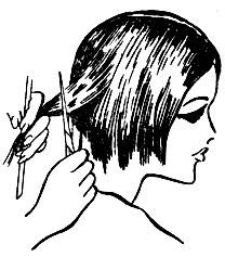 Рис. 47. Филировка волос ножницами