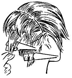 Рис. 51. Филировка прядей волос с внутренней и внешней сторон
