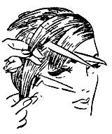 Рис. 55. Филировка волос безопасной бритвой