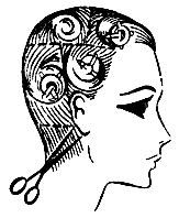 Рис. 56. Окантовка волос на шее ножницами