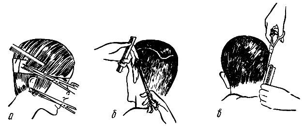 Рис. 59. Приемы окантовки волос ножницами: а - правого височного участка; б - за левой ушной раковиной; в - за правой