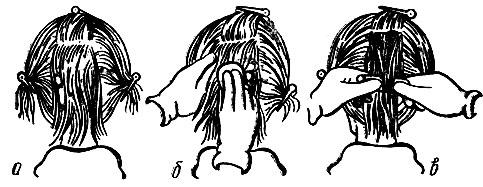 Рис. 61. Подготовка волос к накручиванию на коклюшки при выполнении горизонтальной химической завивки: а - разделение волосяного покрова головы на пряди; б - смачивание пряди волос химическим составом; в - накручивание пряди на коклюшку