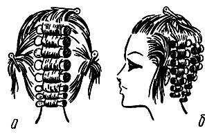 Рис. 62. Очередность накрутки волос на коклюшки различных участков волосяного покрова головы: а - затылочного; б - височного
