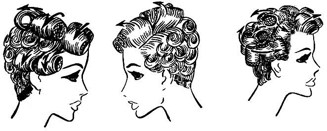 Рис. 69. Варианты размещения бигуди и зажимов на волосяном покрове головы