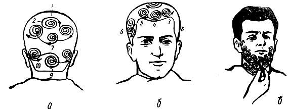 Рис. 94. Схема намыливания головы и лица при бритье: а - затылочного участка; б - височных и теменного участков; в - бороды