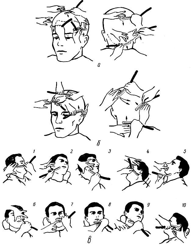 Рис. 95. Бритье головы и лица: а - бритье головы по первому разу; б - по второму; в - последовательность бритья бороды
