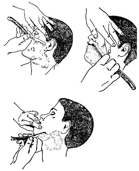 Рис. 34. Бритье левой стороны лица