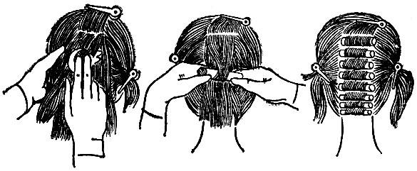 Рис. 44. Выполнение химической завивки волос