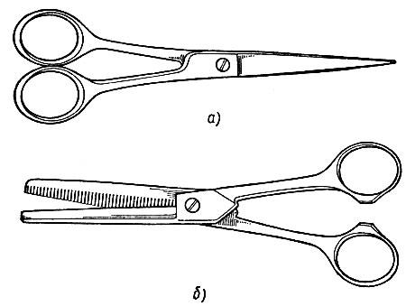 Рис. 7. Виды ножниц: а - парикмахерские, б - зубчатые