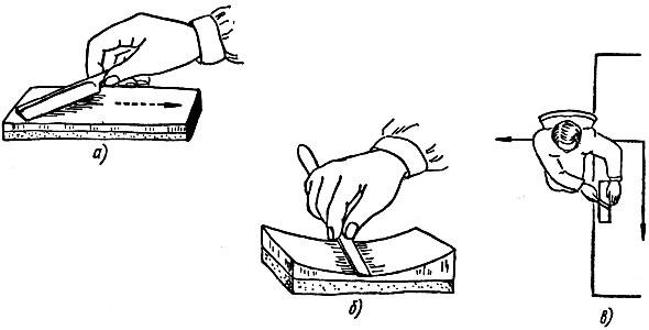 Рис. 13. Шлифовка бритвы на оселке: а - правильный прием, б - неправильный прием, в - положение мастера при шлифовке бритвы на оселке