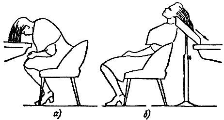 Рис. 39. Мытье головы: а - с наклоном вперед, б - с наклоном назад