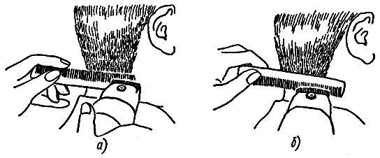 Рис. 45. Сведение волос на нет машинкой по плоскости расчески: а - зубья расчески направлены вверх, б - зубья расчески направлены вниз