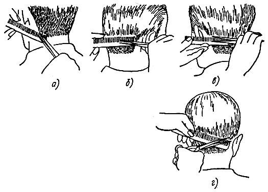 Рис. 46. Обработка коротких волос на различных участках шеи ножницами и расческой: а, г - концами ножниц и зубьев расчески, б, в - концами ножниц у основания зубьев расчески