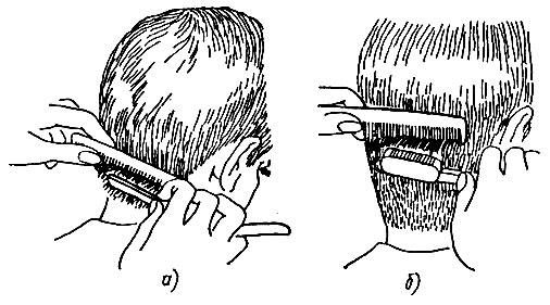 Рис. 48. Сведение волос на нет бритвой: а - опасной, б - филировочной