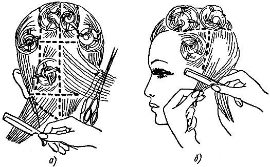 Рис. 51. Деление волосяного покрова головы на участки для стрижки и закрепление их зажимами: а - затылочного участка, б - височного участка