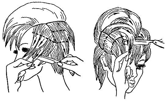 Рис. 52. Приемы филировки прядей волос опасной бритвой