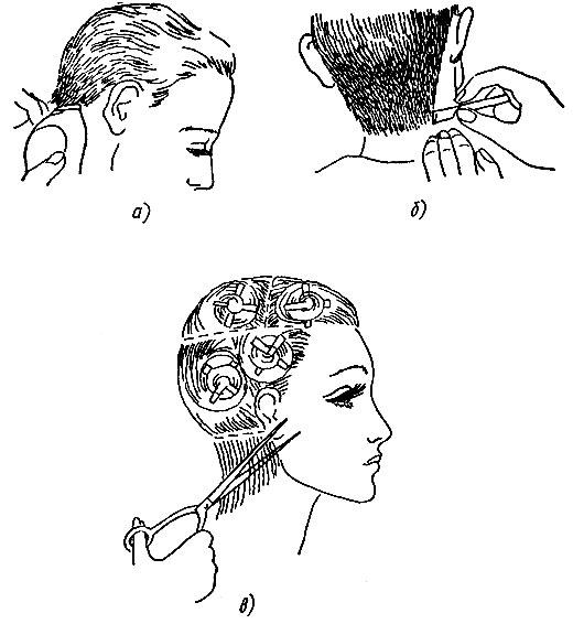 Рис. 54. Окантовка волос: а - электрической машинкой, б - опасной бритвой, в - ножницами