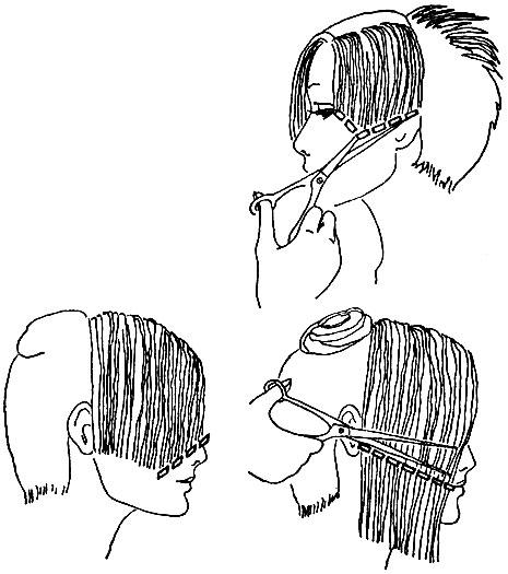 Рис. 58. Определение направления и формы линии окантовки по деталям лица