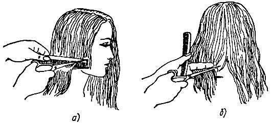 Рис. 59. Приемы окантовки длинных волос: а - с расчески, б - с пальцев