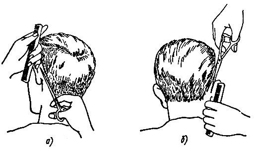 Рис. 60. Приемы окантовки коротких волос ножницами за ушной раковиной: а - левой, б - правой
