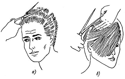 Рис. 61. Предварительная стрижка волос на пальцах: а - коротких, б - длинных