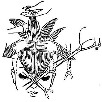 Рис. 62. Подравнивание волос после филировки