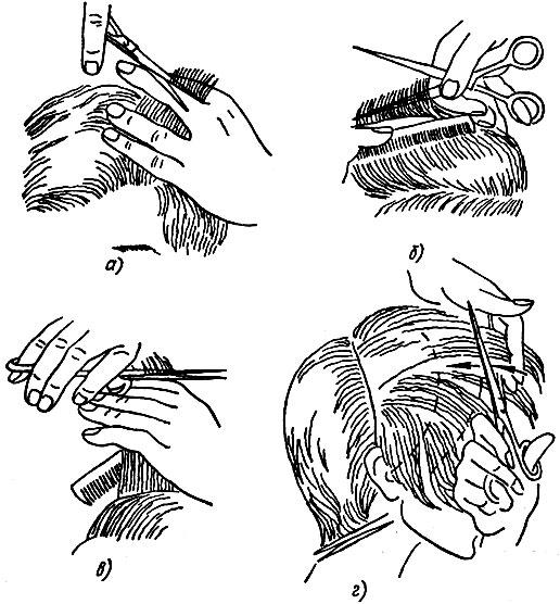 Рис. 63. Стрижка волос на пальцах: а, б, в - правильный прием, г - неправильный прием