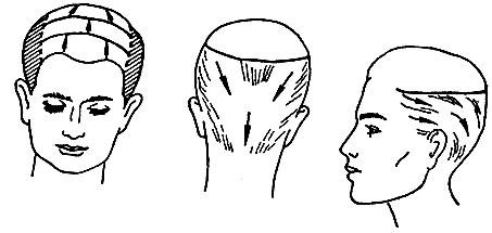 Рис. 64. Направление расчесывания различных участков волос при выполнении стрижки на пальцах