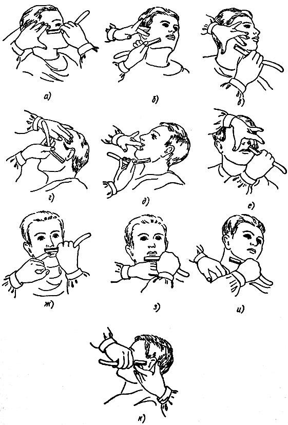 Рис. 71. Последовательность бритья лица