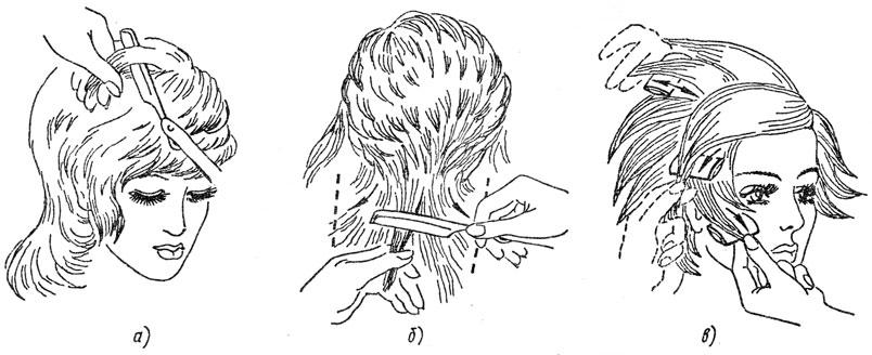 Рис. 53. Филировка волос с внутренней и внешней стороны прядей опасной и безопасной бритвами: а - на темном участке, б - на затылочном участке, в - на височном участке